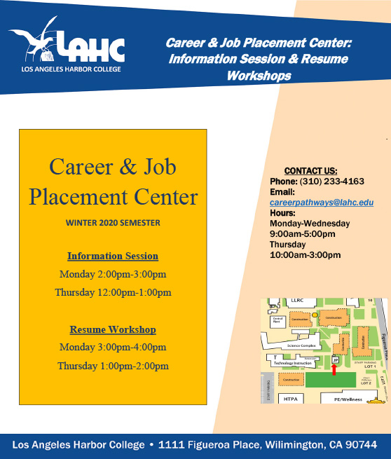 career and job placement workshop schedule