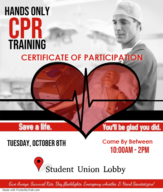 hands on cpr training certificate of participation tuesday october 8th