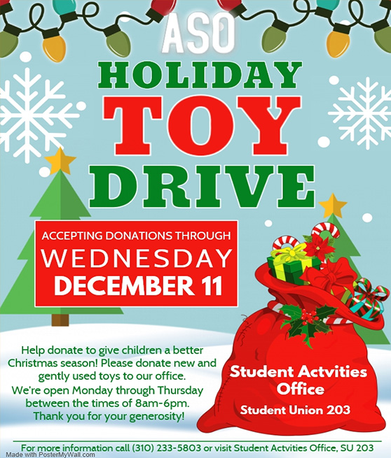 aso toy drive through wednesday december 11th