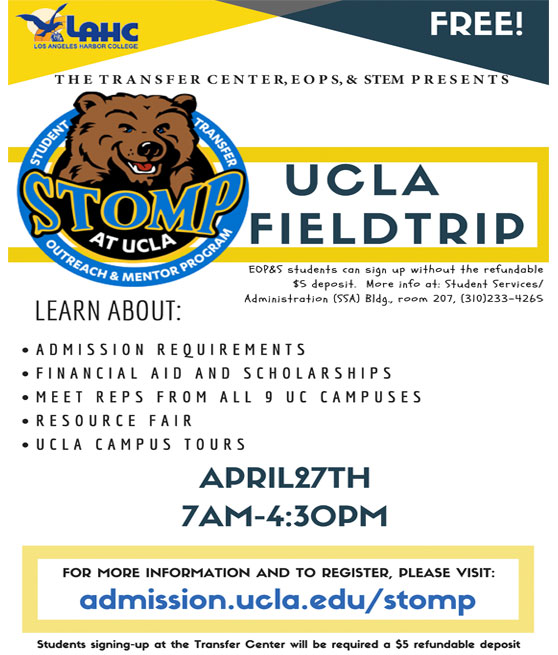 UCLA Field trip april 27th 7am to 4:30pm for more info visit admission.ucle.edu/stomp