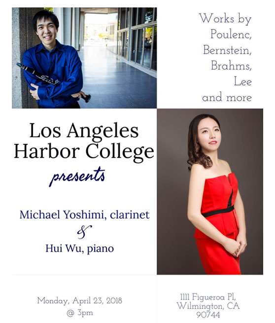 piano and clarinet concert Monday april 23 at 3pm