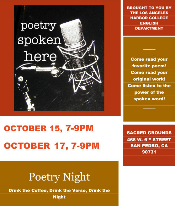 poetry night october 15th and october 17th
